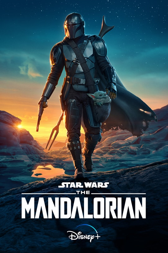 Star Wars: The Mandalorian | Disney+ | Season Two poster image featuring The Mandalorian and The Child