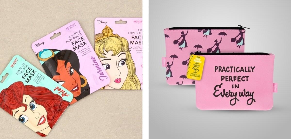 Une sélection de masques de beauté sur le thème Disney Princess et une trousse de toilette Mary Poppins