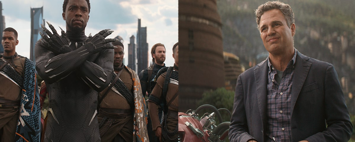 Black Panther and Bruce Banner in side by side image stills from Avengers: Infinity War