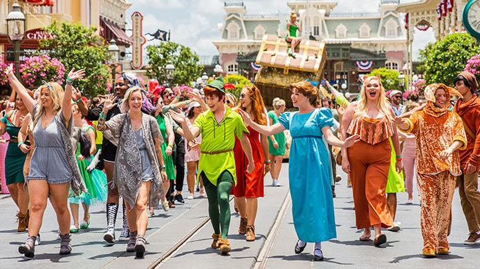 50 Disney Bounders Marched Down Main Street in Style to Celebrate the 65th Anniversary of Peter Pan