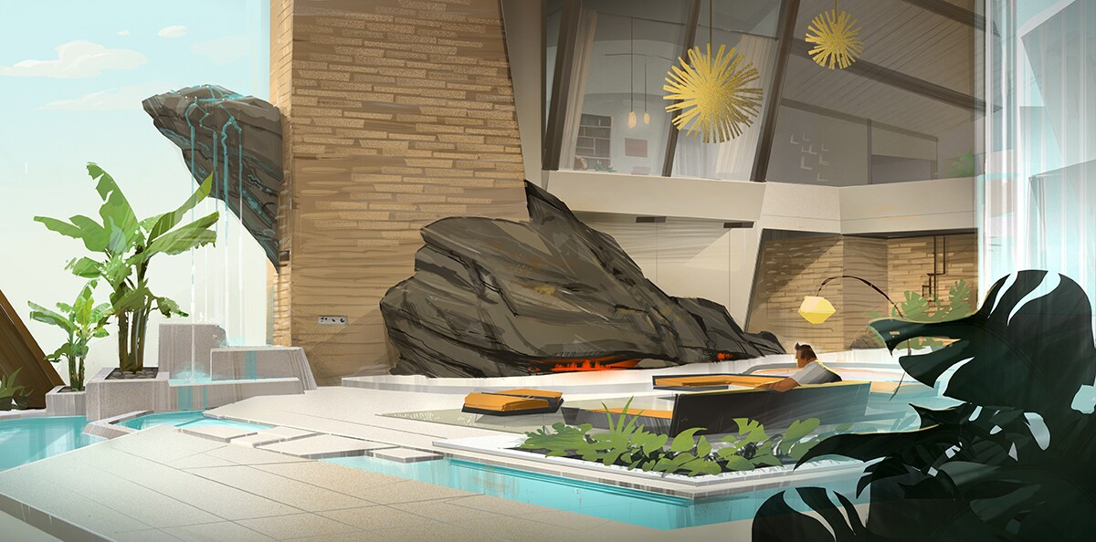 Concept art of a luxurious mid-century modern home with a large rock in the center of a grad room. A sunken orange couch is surrounded by small pools.