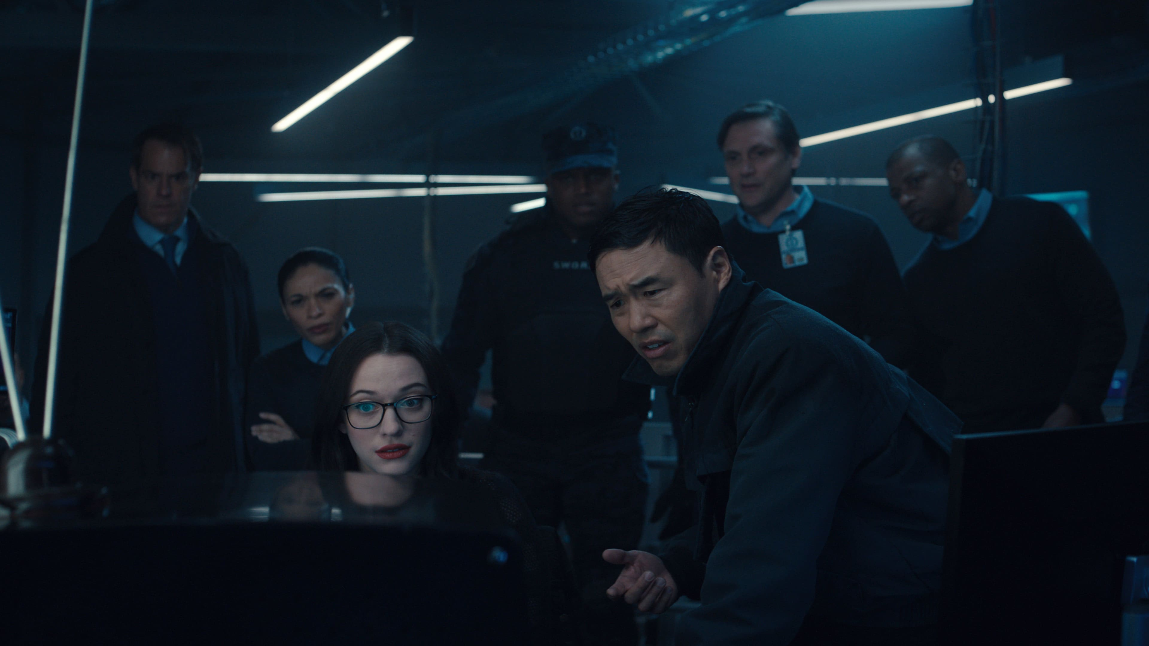 (L-R): Kat Dennings as Darcy Lewis and Randall Park as Jimmy Woo in Marvel Studios' WANDAVISION exclusively on Disney+. Photo courtesy of Marvel Studios. ©Marvel Studios 2021. All Rights Reserved.