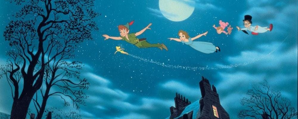 "Peter Pan flying over London with the Darling children in the animated movie ""Peter Pan"""