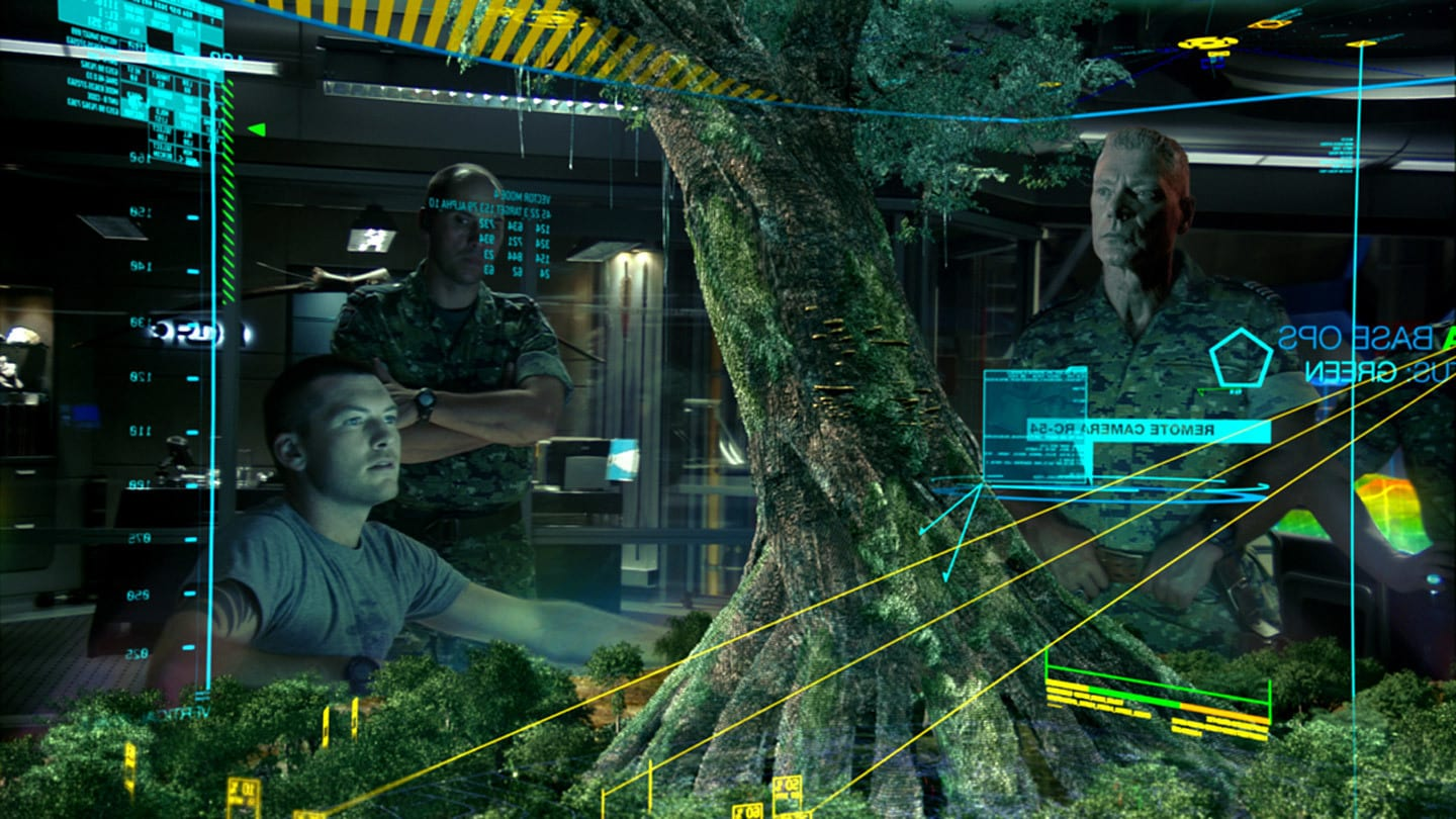 Jake played by Sam Worthington gives Colonel Quaritch played by Stephen Lang intel about Hometree