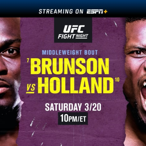 UFC Fight Night: Brunson vs. Holland March 20 on ESPN, ESPN2, ESPN Deportes and ESPN+