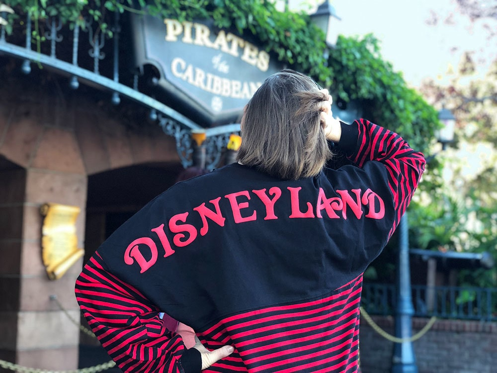 Model wearing black and red striped 'Pirates of the Caribbean' Spirit Jersey