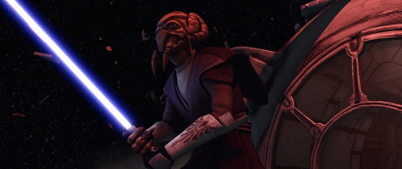 Plo Koon defends an escape pod in the vacuum of space