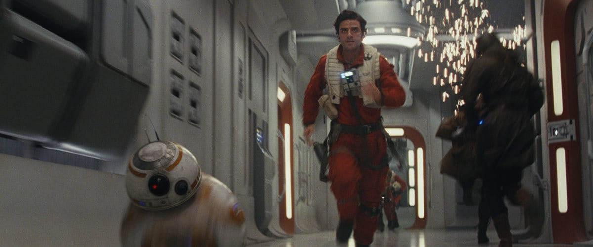 BB-8 and Poe Dameron rushing to reach Poe's X-Wing