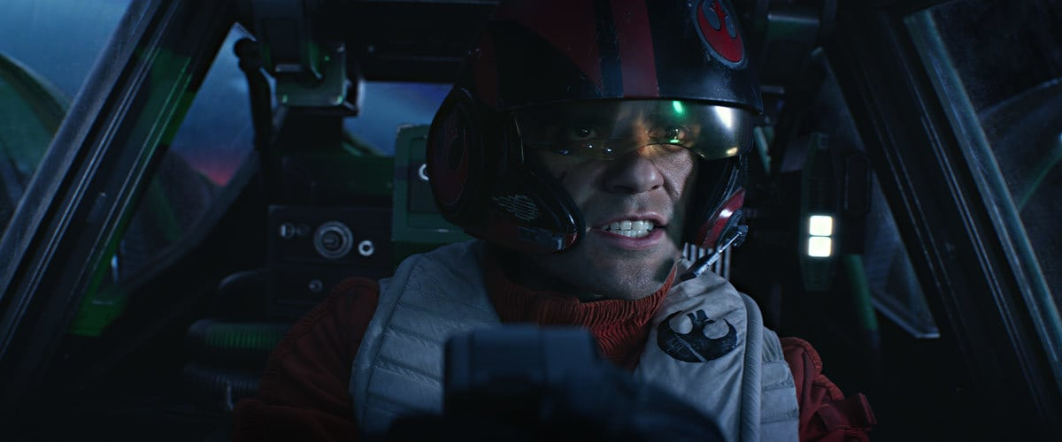 Poe Dameron pilotting an X-Wing starfighter during the assault on Starkiller Base