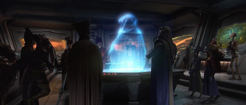 Poggle and other Separatist leaders on Mustafar in a holocall with Darth Sidious