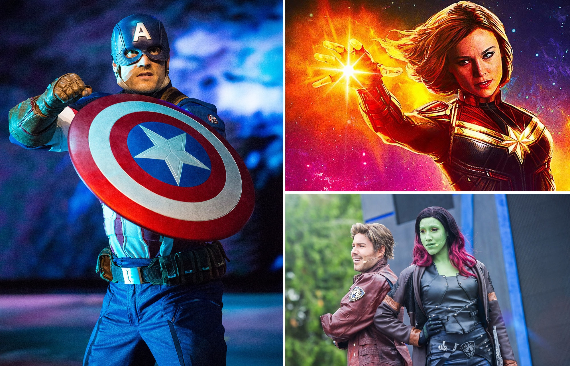 Capitan America, Star-Lord e Gamora a Disneyland Paris