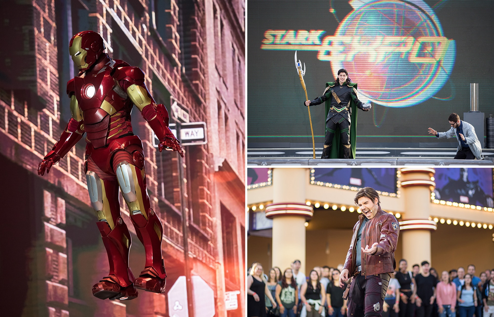 Marvel stage show featuring Iron-Man and Loki and Peter Quill displaying his dance moves