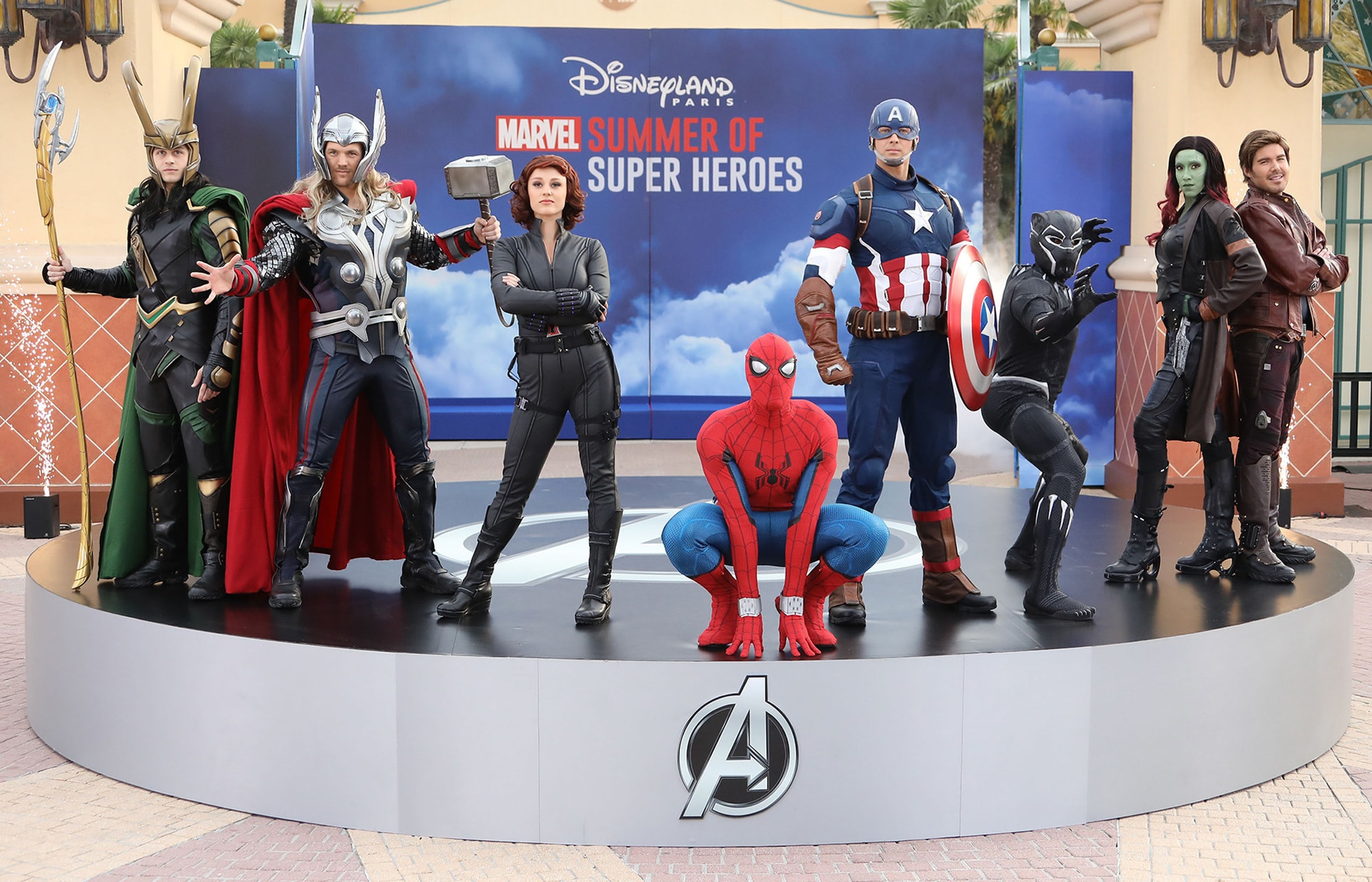Loki, Thor, Black Widow, Spider-Man, Captain America and Black Panther at Marvel Summer of Super Heroes