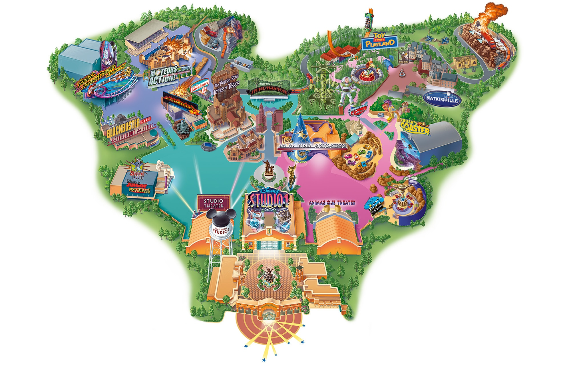 Map of Walt Disney Studios Park at Disneyland Paris