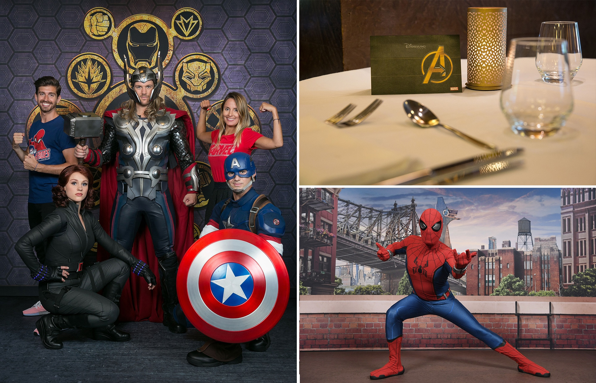Guests taking a photo opportunity with Thor, Captain America and Black Widow