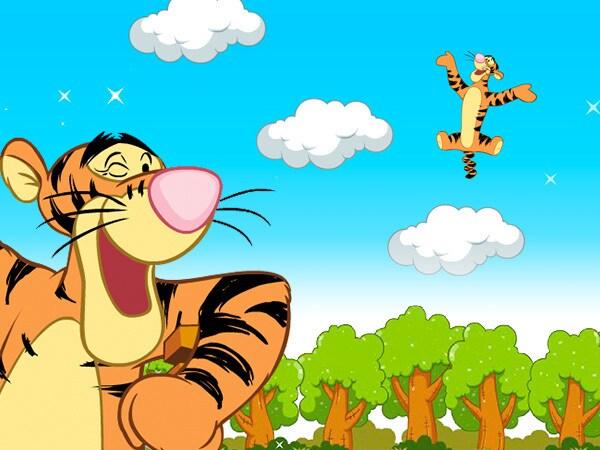 Tigrou joue à saute-nuage