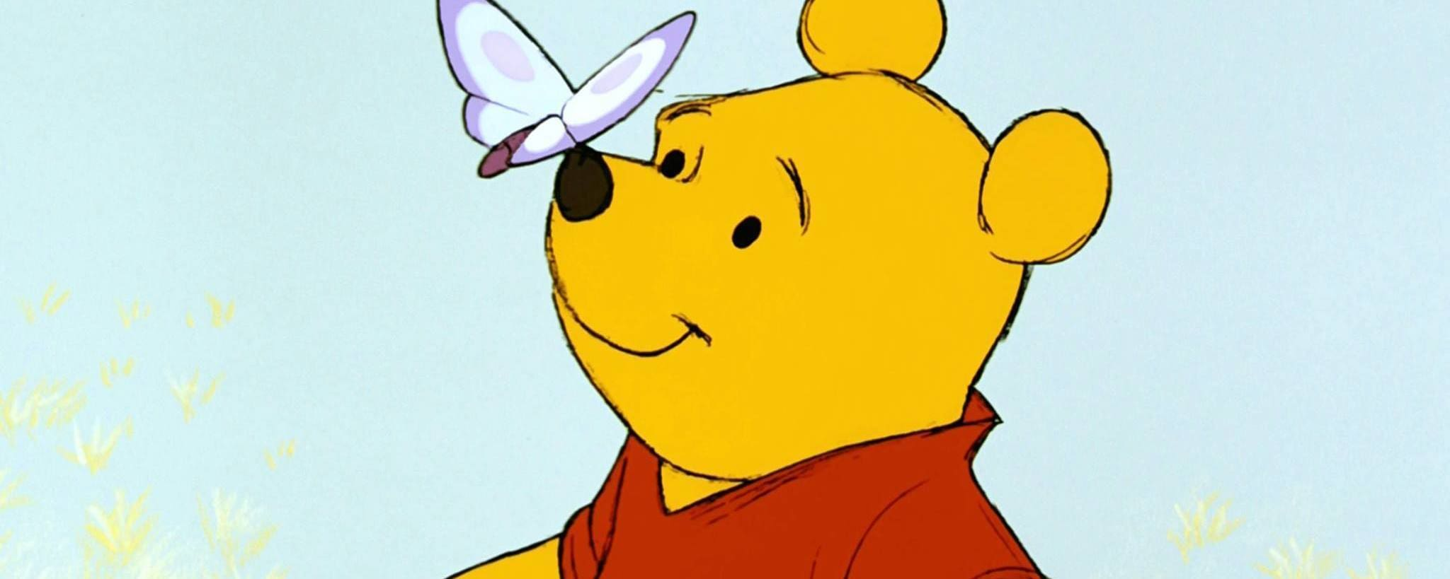 Winnie the Pooh with a butterfly