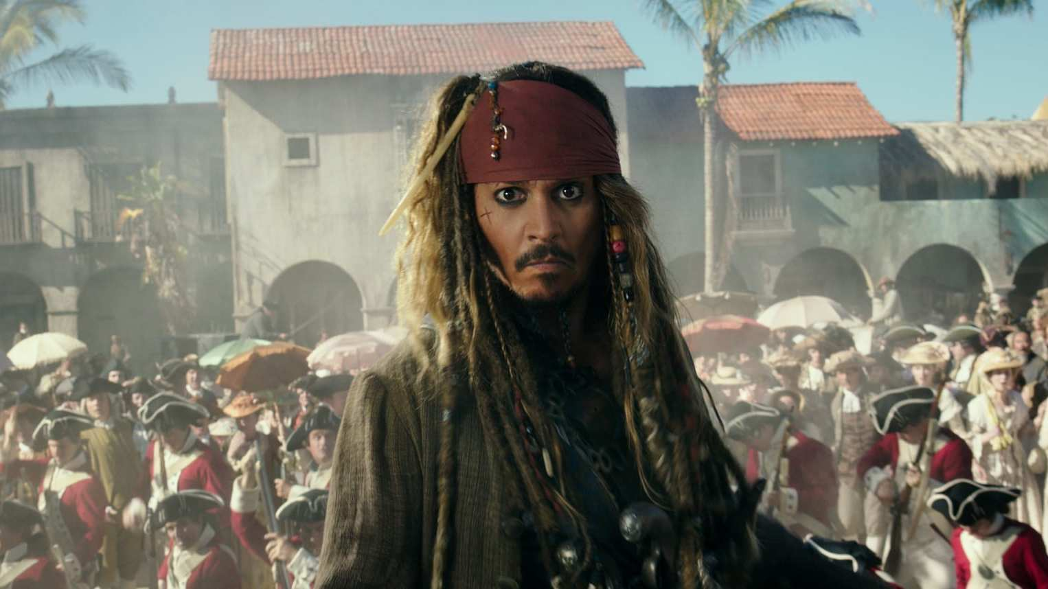 Captain Jack Sparrow, played by Johnny Depp, in the movie Pirates of the Caribbean: Dead Men Tell No Tales