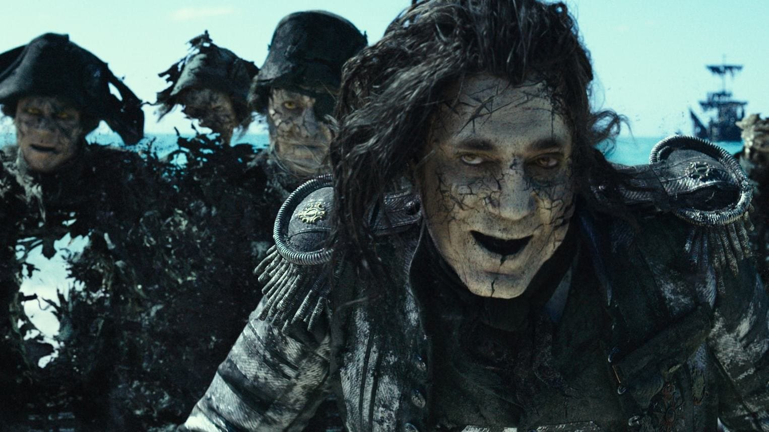 Captain Salazar, played by Javier Bardem, with his crew in the movie Pirates of the Caribbean: Dead Men Tell No Tales