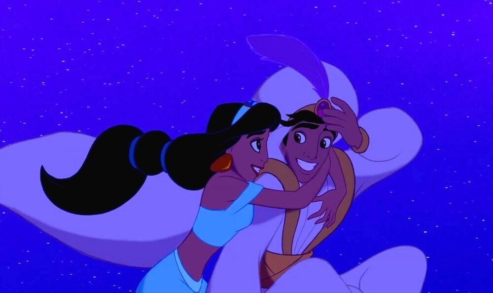Jasmine and Aladdin on the magic carpet