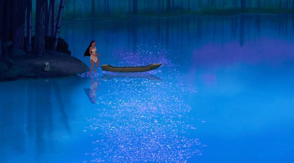 Pocahontas at a river in front of a boat