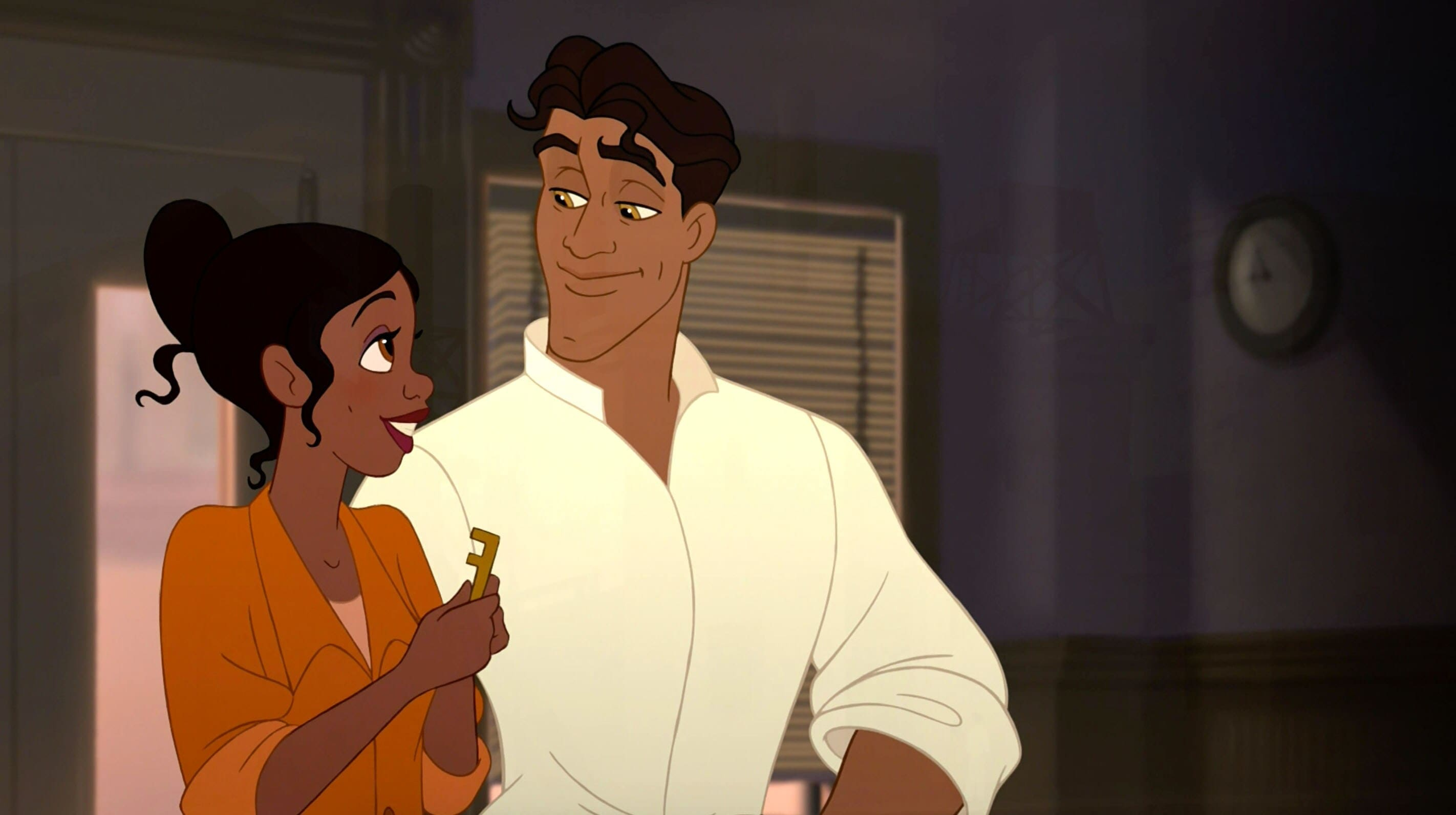 "Prince Naveen and Princess Tiana in ""The Princess and he Frog"""