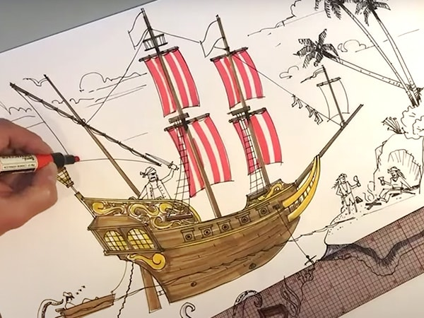 Learn to Draw a Disney-Inspired Pirate Scene