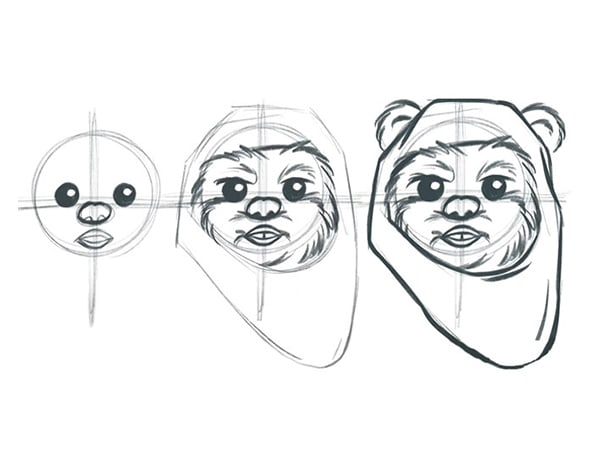 Learn to Sketch Wicket the Ewok!