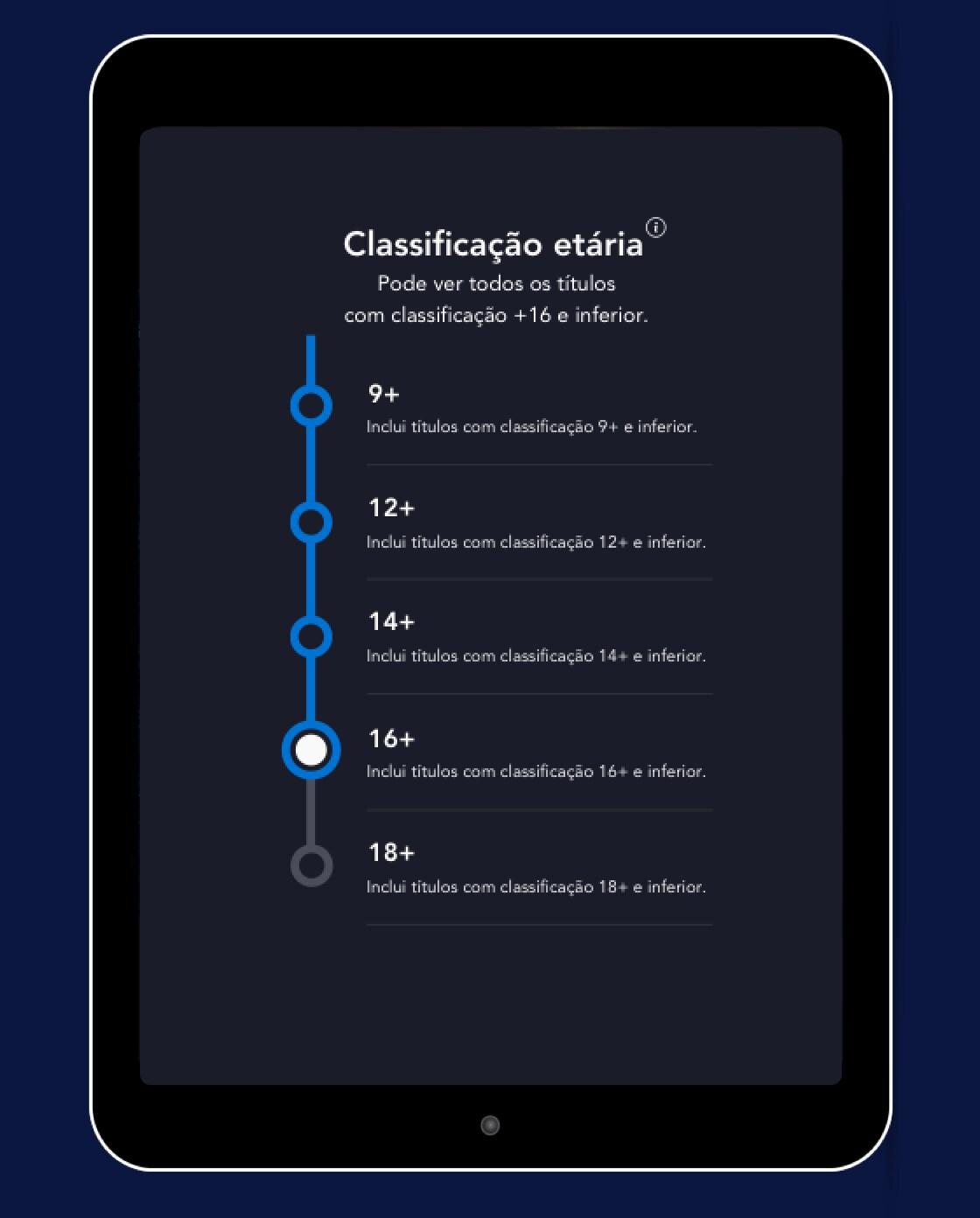 Ecrã da classificação etária do Disney+ nas definições do perfil