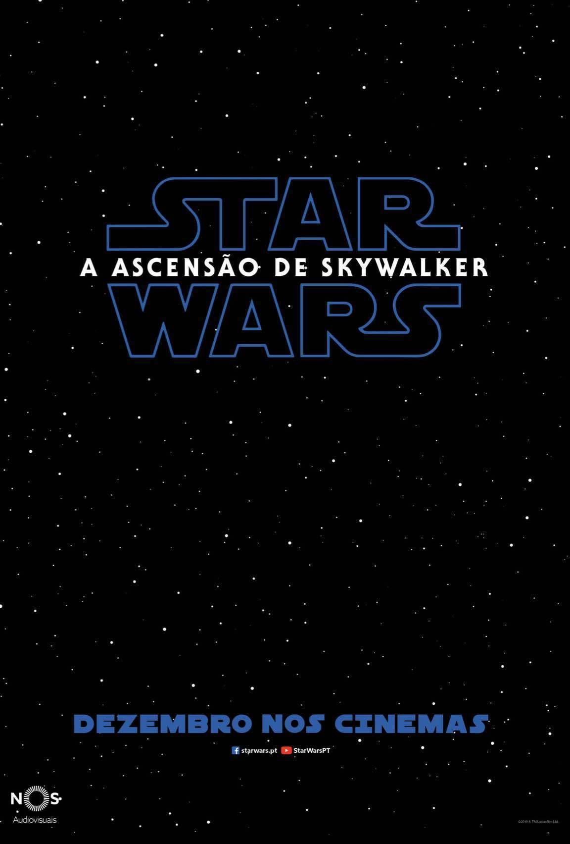 Poster com um céu negro, estrelas e o logótipo de Star Wars: A Ascensão de Skywalker