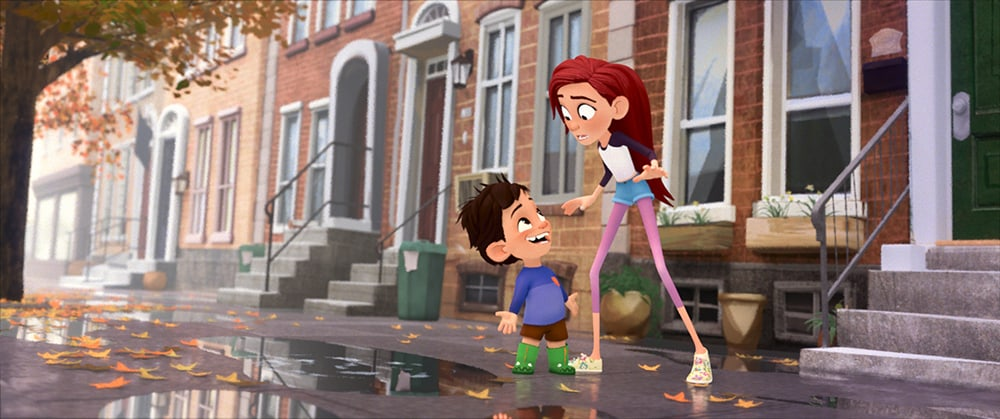 characters from the short film Puddles in front of brownstones