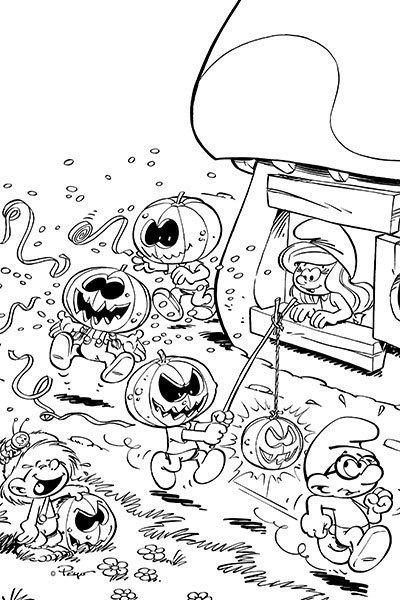 Die Schlümpfe Malvorlage Halloween