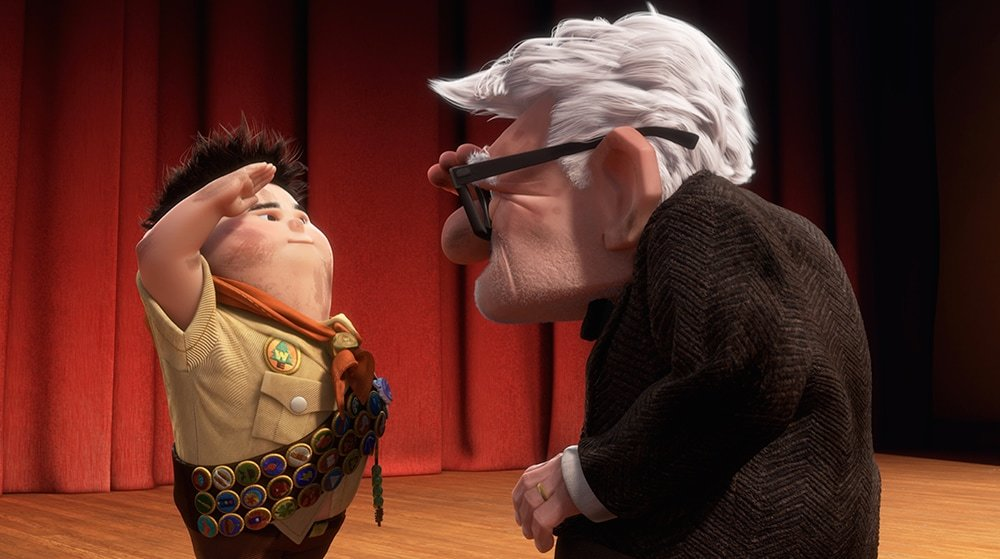 """Russell saluting Carl in the animated movie """"UP"""""""