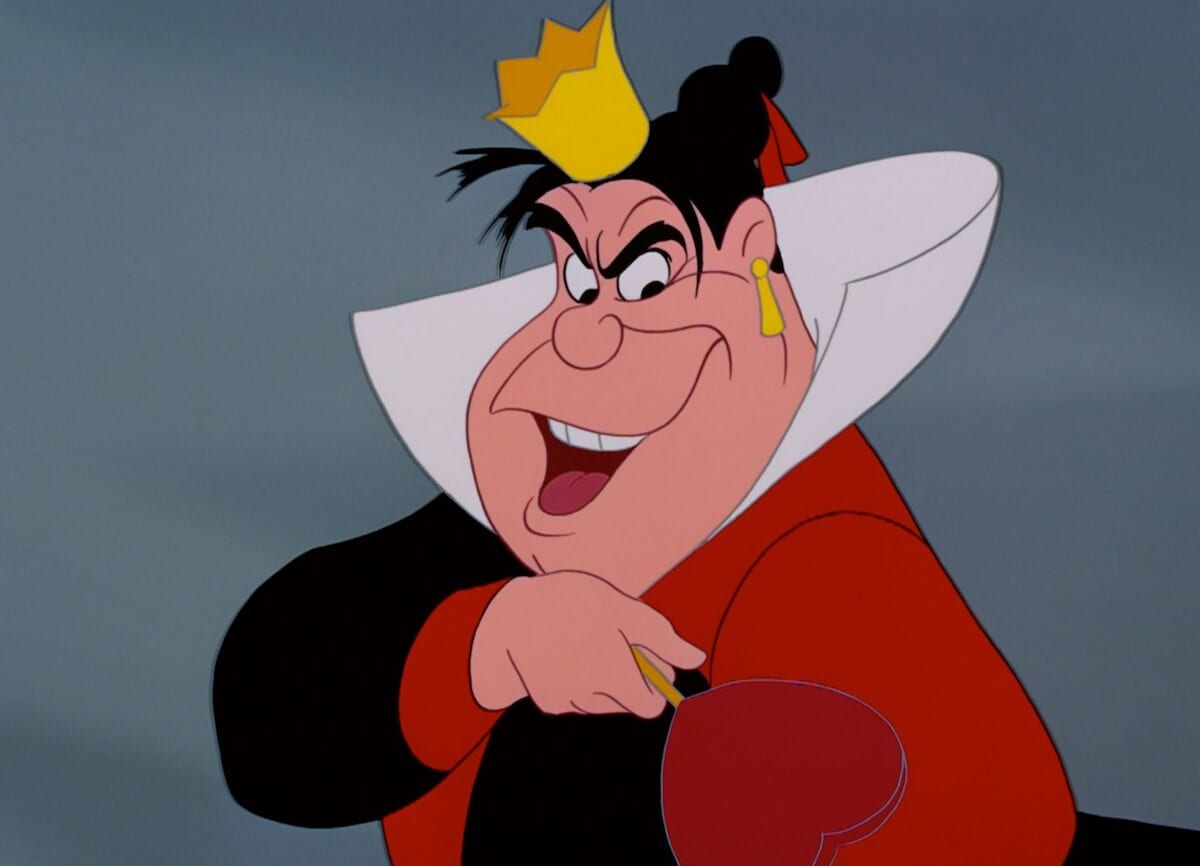 "The Queen of Hearts from the animated movie ""Alice in Wonderland"""