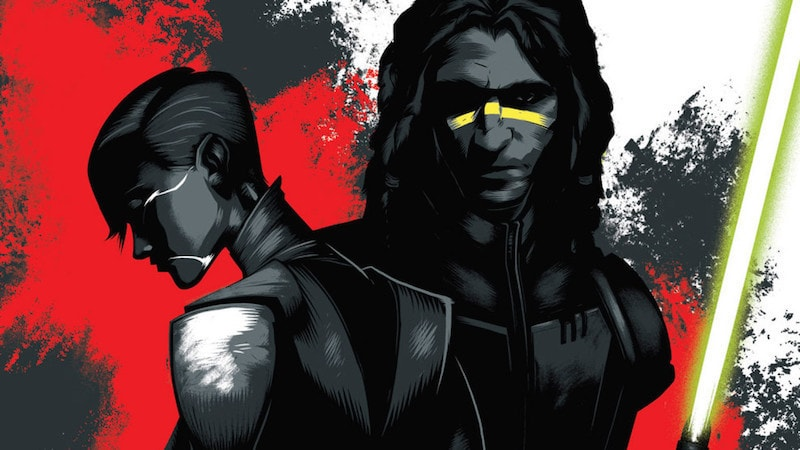 "Quinlan Vos and Asajj Ventress as seen on the cover of ""Star Wars: Dark Disciple"""