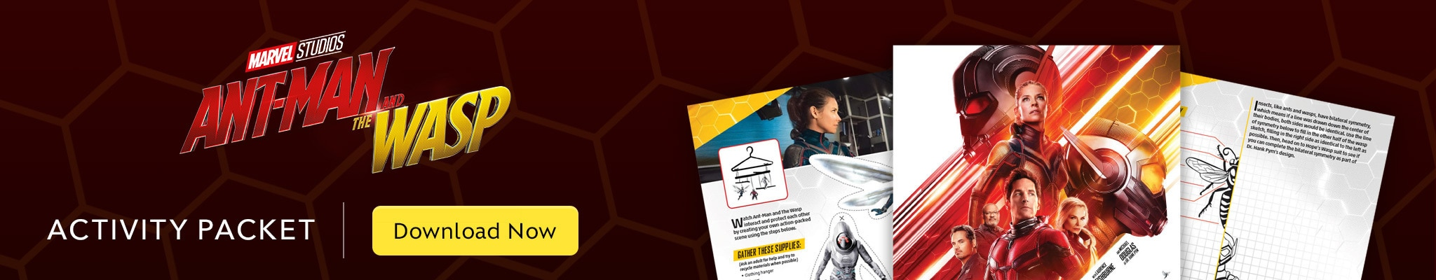 Ant-man and the Wasp activity packet.  Download now.