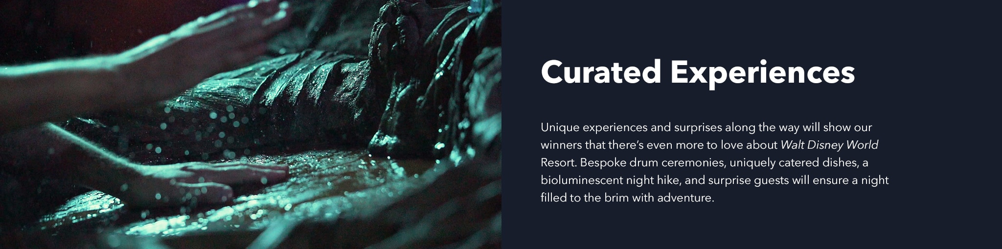 Curated Experiences. Unique experiences and surprises along the way will show our  winners that there's even more to love about Walt Disney World Resort. Bespoke drum ceremonies, uniquely catered dishes, a bioluminescent night hike, and surprise guests will ensure a night filled to the brim with adventure.