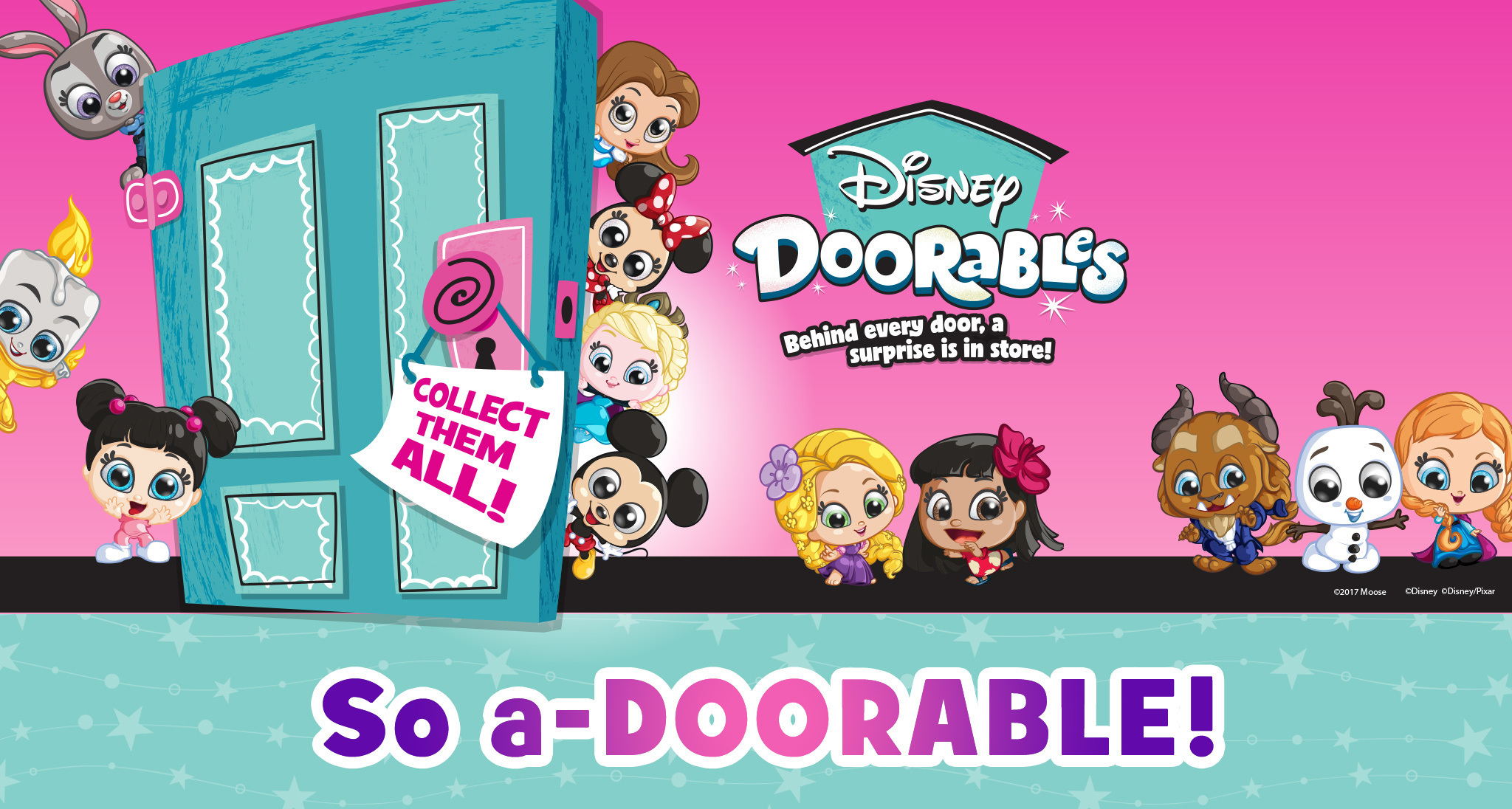 Image of Disney Doorables logo with characters underneath including Beast, Olaf, Anna, Moana, Rapunzel and Mickey Mouse.