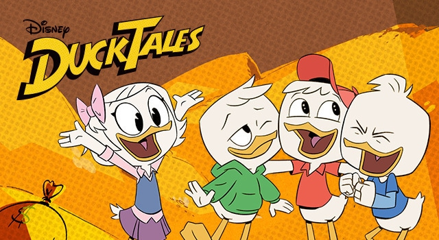 Ducktales 2017 poster wtih Webby, Huey, Dewey and Louie