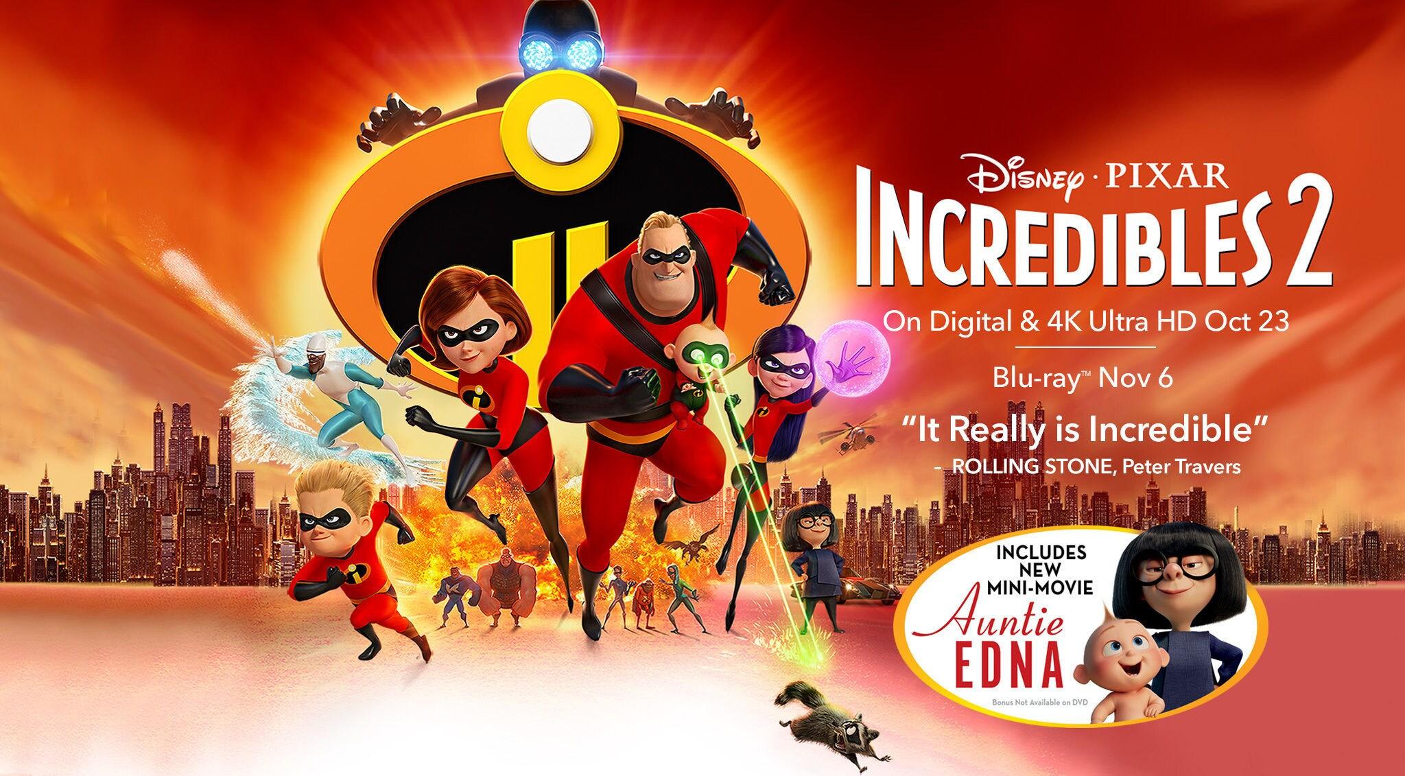 Disney O Pixar Incredibles 2 On Digital 4K Ultra HD Oct 23