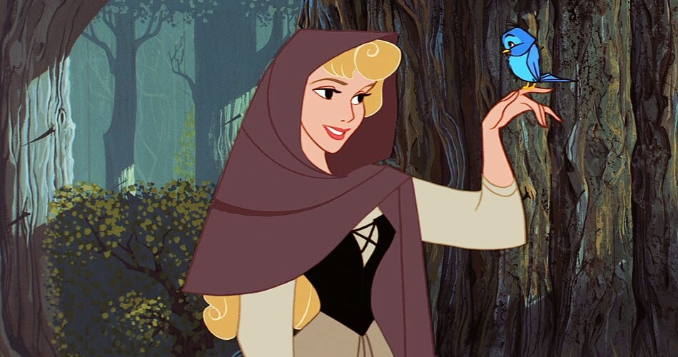 Princess Aurora with a bird on her finger