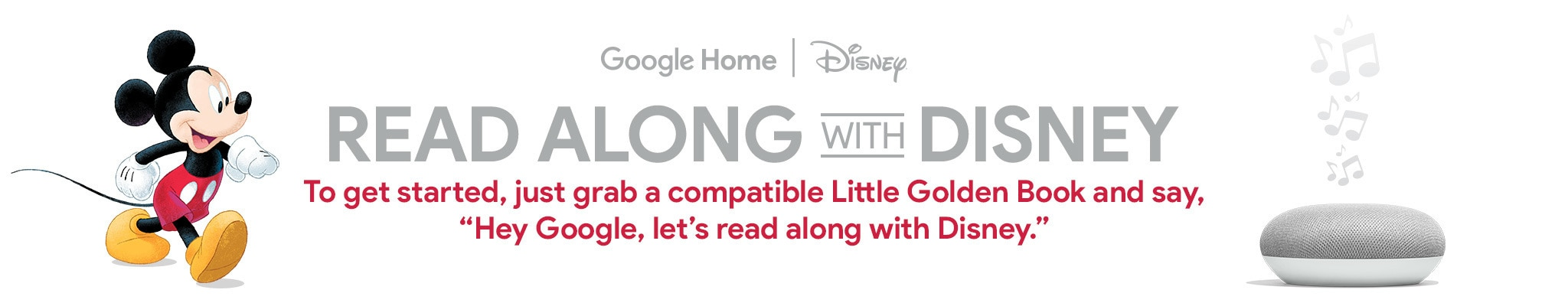"Google Home | Disney - Read Along With Disney - To get started, just grab a compatible Little Golden Book and say, ""Hey Google, let's read along with Disney."""