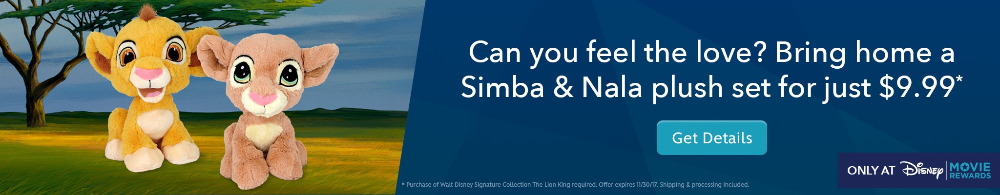 Visit Disney Movie Rewards for Simba & Nala Plush for just $9.99