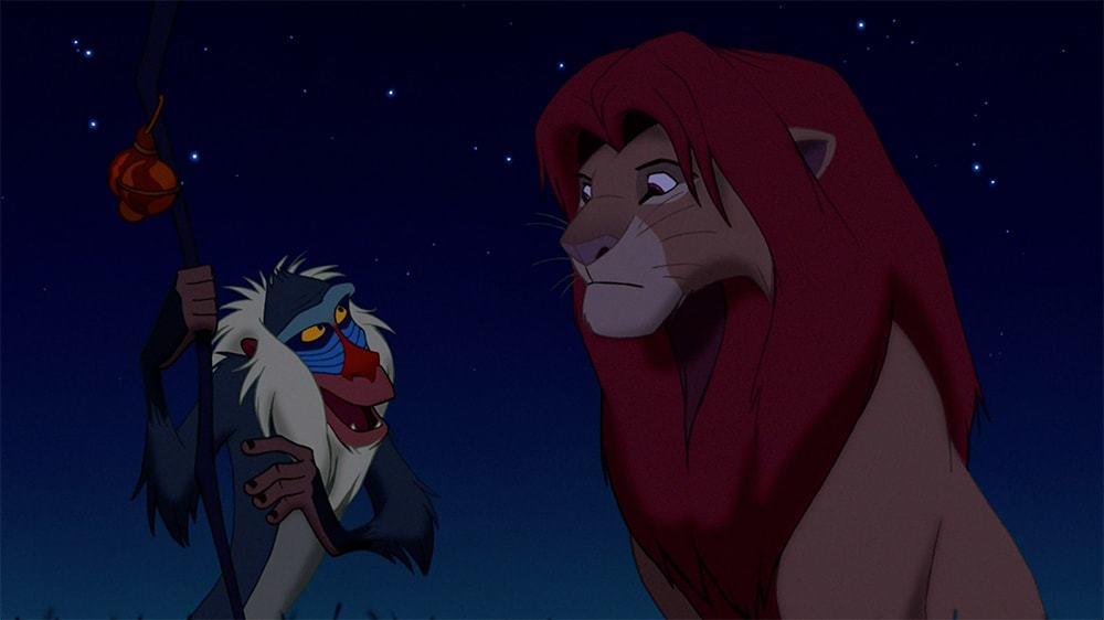 "Rafiki talking to Simba in the animated movie ""The Lion King"""