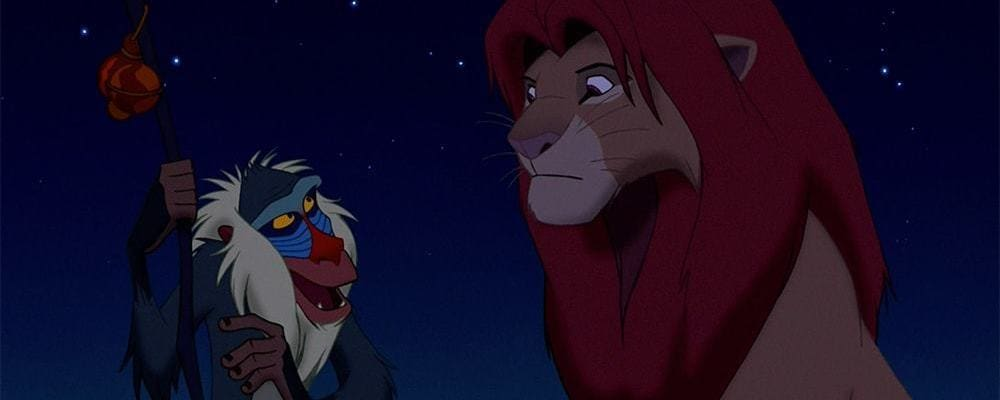 "Rafiki talking to Simba in the animated movie ""The Lion King"""