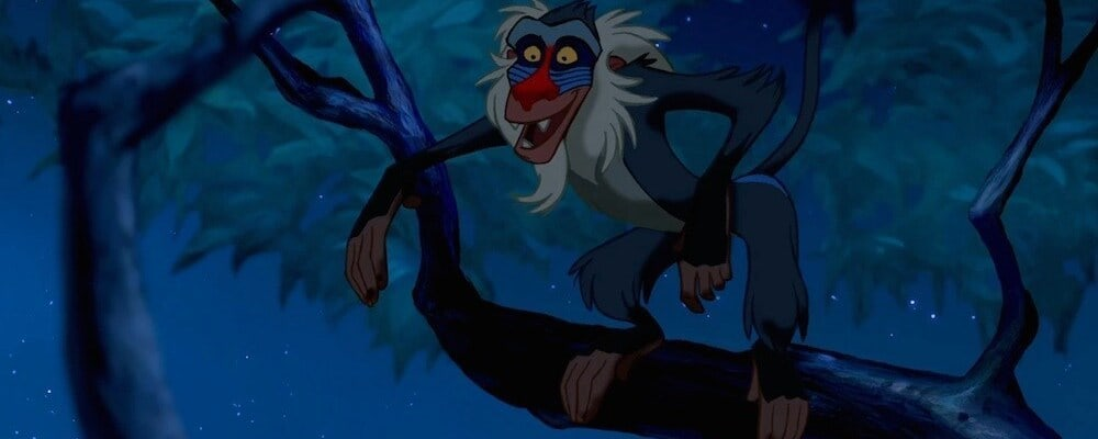 "Rafiki (the baboon) in the animated movie ""The Lion King"""