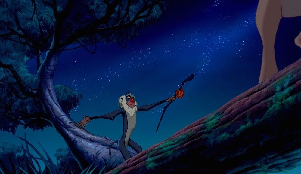 """Animated characters Rafiki (baboon) from the movie """"The Lion King"""""""