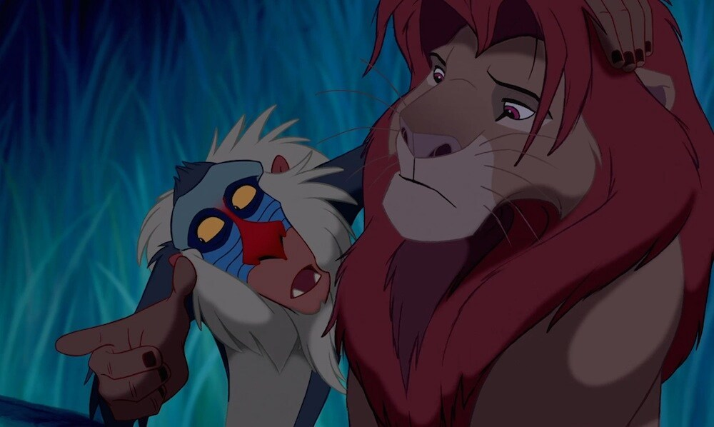 """Rafiki (the baboon) talking to Simba (the lion) in the animated movie """"The Lion King"""""""