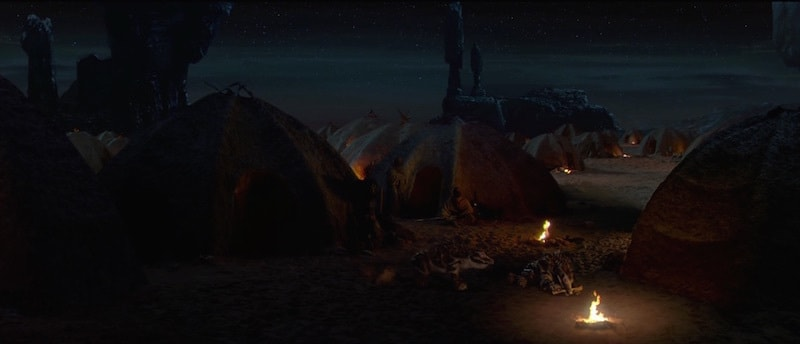 A Tusken Raider camp on Tatooine