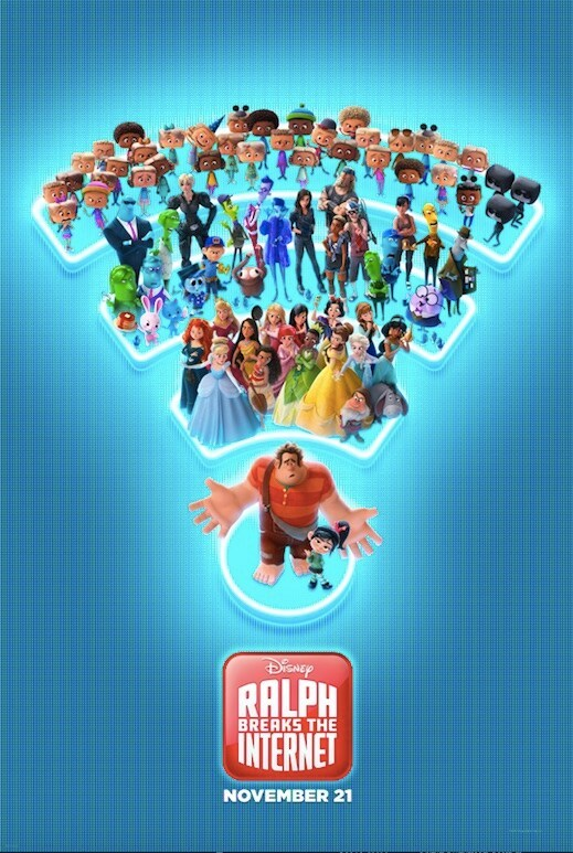 Disney Ralph Breaks the Internet November 21; Poster of Raplh and Vanellope standing on a Wifi symbol with Disney Princesses, Netizens, and Net users